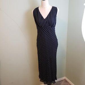 Style & Co Tan Navy V-Neck Sleeve Polka Dot Dress